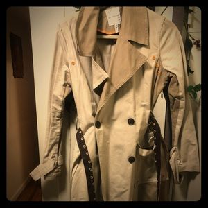 Color block trench coat